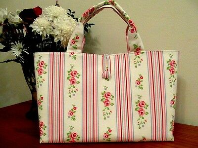 New Knitting / Craft Bag In Cath Kidston Floral Stripe 100% Cotton Duck Fabric