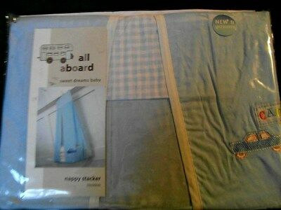 Nursery Baby Boy Nappy Stacker Pale Blue Embroidered/ Appliqué ' All Aboard' New