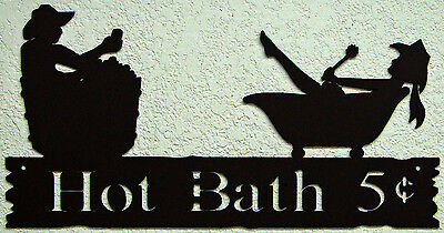 Hot Bath Wall Word Sign Cowboy Cowgirl Vintage Rustic Western Metal Art Decor