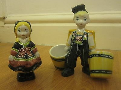 Pair Of Swiss China Pottery Figurines Figures Ornaments Boy & Girl