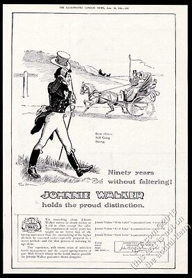 1910 Johnnie Walker Scotch Whisky character & carriage art BIG vintage print ad