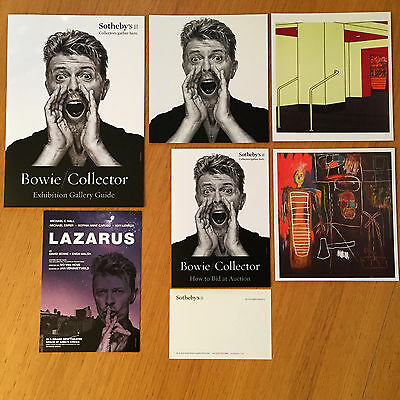 BOWIE/COLLECTOR Sotheby's Exhibition Guides + Postcards + Lazarus Flyer 2016