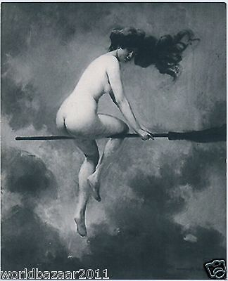 Vintage Nude Witch Wicca Magic Halloween Broomstick Skull Potion Pagan Gothic