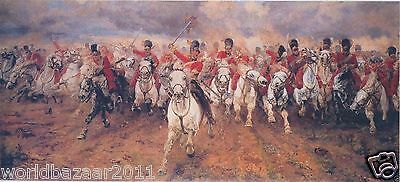 Lady Butler Scotland Forever Battle Of Waterloo Scots Greys Mounted Print