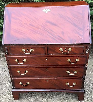 Antique Mahogany Georgian Bureau Writing Desk Chest Of Drawers