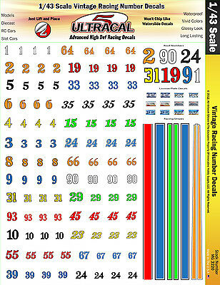 MG3220 - 1/43 Scale UltraCal High Def Decals Vintage Racing Number Decals