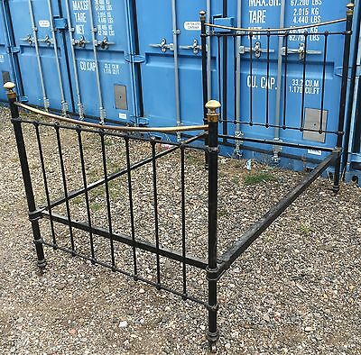 Antique Victorian Brass And Iron Three-Quarter Bed 48 Inch Wide Maker Hoskins