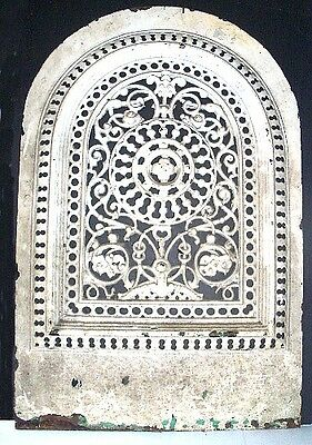 - ANTiQUE ViCTORiAN ARCH TOP CAST iRON SUMMER FiREPLACE COVER SS BENT NY E. #207