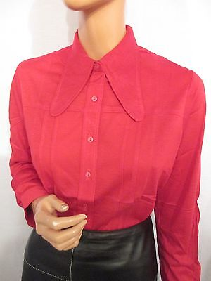 NEW OLD STOCK VINTAGE HUGE 1970s COLLAR LONG SLEEVE STRETCH RED SHIRT MOD M L