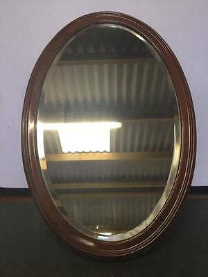 Vintage Bevel Edged Oval Wood Backed Mirror  #266