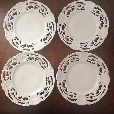 SET OF FOUR White CIRCULAR TIEFENFURT (bf 1932) PLATES Art Nouveaou look