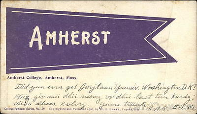 Flag 1907 Amherst MA Amherst College Pennant Hampshire County Massachusetts PC