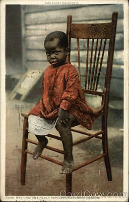 Black Detroit Pub. 1911 African American Toddler in Chair Detroit Publishing Co.