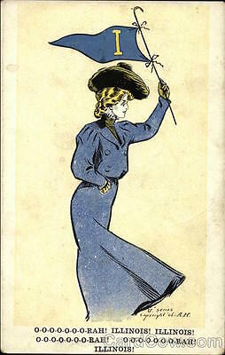 Illinois College Girl A.H. Divided Back Postcard