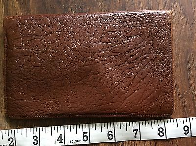 OLD RETRO VINTAGE 50s BIFOLD BROWN CALF LEATHER CREDIT CARD CASE WALLET USED