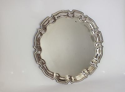 ANTIQUE VINTAGE Scalloped SILVER PLATED PLATTER CARD TRAY SALVER 1905