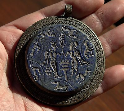 Rare Huge Very Old Stunning Carved Lapis Lazuli Stone Ornate Bronze Pendant