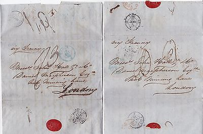1855 x 2 STAMPLESS LETTERS CADIZ SPAIN TO DAN MACPHERSON LONDON WITH WAFER SEALS