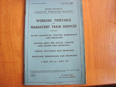 Br Lmr Working Timetable Mandatory Crewe North Wales Salop Chester 1976 Sect Ch