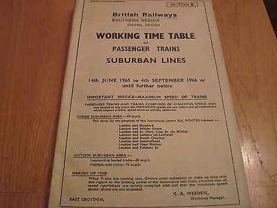Br Sr Working Timetable Passenger Central Division Suburban Lines 1965 Sect B