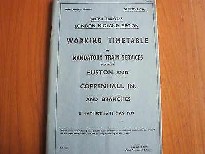 Br Lmr Working Timetable Mandatory Euston Crewe Coppenhall Jn 1978 Sect Ca Wcml