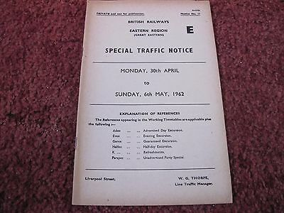 Br Er Special Traffic Notice 30 April - 6 May 1962 Liverpool St  Ge Lines