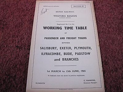 Br Western Region Wtt Supplement No 6 Section P Lswr Lines 1 March- 13 Une 1965