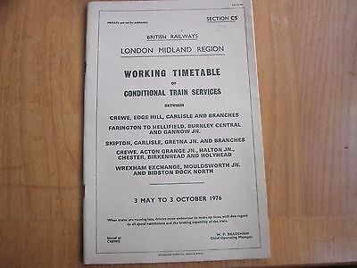 Br Lmr Working Timetable Conditional Crewe Edge Hill Carlisle   1976 Sect Cs