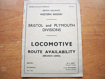 Br Western Region Bristol & Plymouth Divisions Route Locomotive Availability