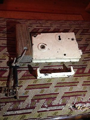 VINTAGE LOCK, TWO ORIGINAL WORKING KEYS, AND FRAME PLATE. VICTORIAN MID 1800s