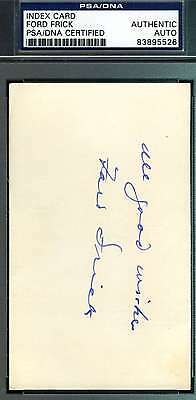Ford Frick Psa/dna Hand Signed 3X5 Index Card Authentic Autograph