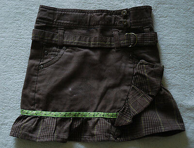 FRANSA GIRLS BROWN DENIM SKIRT with CHECKED BELT and FRILL age 4YRS