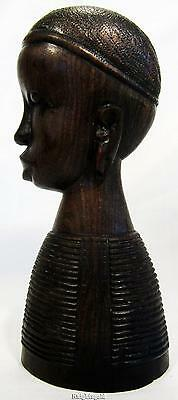 """Vintage Tribal African Tanzania Hand Carved Ebony Wood Bust Statue 18cm / 7"""""""