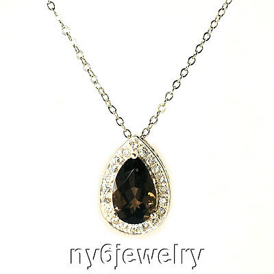 Genuine Smoky Topaz & CZ Drop Pendant w/Sterling Silver Chain Necklace 18""