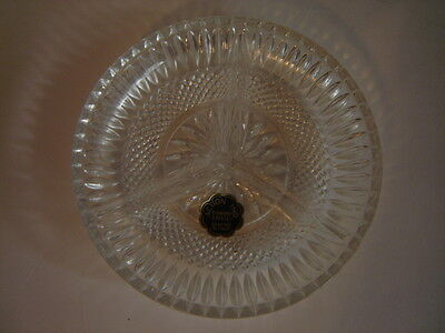 Action Ind. Diamond Crystal Divided Relish Tray 3 Section Dish Crafted In Italy