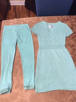 Girls Justice size 10 2 Piece Outfit Green Sweater Dress And Pants /Leggings EUC
