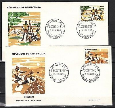 * Burkina Faso, Sc. cat. 168-169. Honoring Scouts issue on a First day cover.