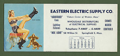 1955 Rain Capers Cheesecake Calendar Advertising Ink Blotter A/S D'Ancona