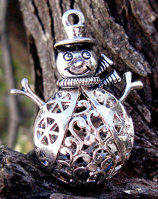 HUGE Snowman HOLLOW BEAD Christmas Stocking Stuffer Silver Pendant Jewelry Charm