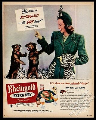 1947 Miss Rheingold Beer Airedale terrier puppy dogs photo vintage print ad