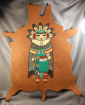 Vtg Colorful Hopi Morning Singer Kachina Hand Painted On Leather #1 Large