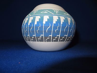 STUNNING Blue Sky Navajo Indian Hand Etched Pottery Viveca Tsosie-Signed