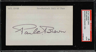 PAUL BROWN  Autographed Signed Index Card HOF BROWNS  SGC Authnetic