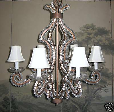 Draper Hollywood Regency Antique Style Iron French Beaded Crystal   Chandelier