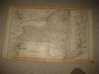 Large Antique 1886 New York State City Hudson River Handcolored Map Long Island