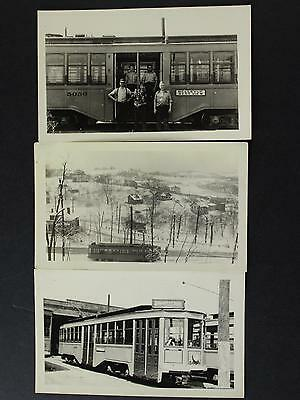 LOT of THREE VINTAGE 1930s-1940s TROLLEY PHOTOS of PITTSBURG RAILWAYS COMPANY
