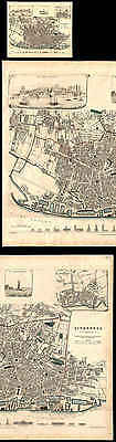 Old 1836 Sduk Map Of The City Of Liverpool, England