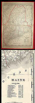 Old 1895 Cram'S State Railroad Map Of Maine