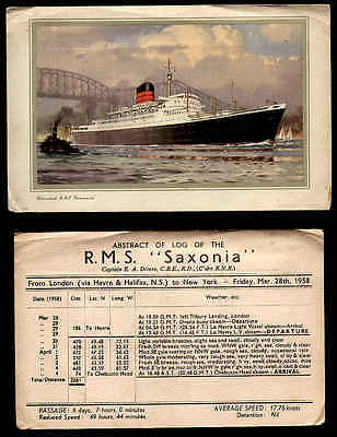 Old 1958 Ocean Liner Card For Cunard Rms Saxonia London Ny