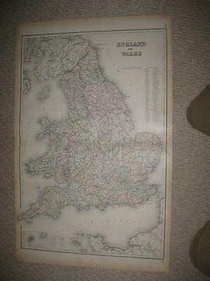 Huge Gorgeous Antique 1886 England Wales Scilly Isles Colton Handcolored Map Nr